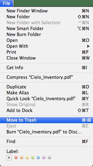 Finder File menu showing keyboard shortcut for Move to Trash