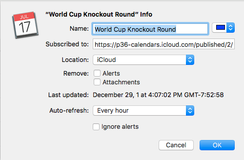 World Cup Knockout Round calendar recommended settings