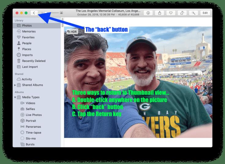 Three ways to return to Thumbnail view