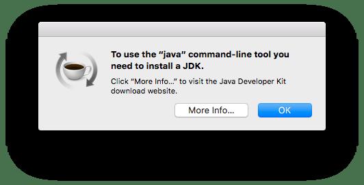 Java jdk pop-up