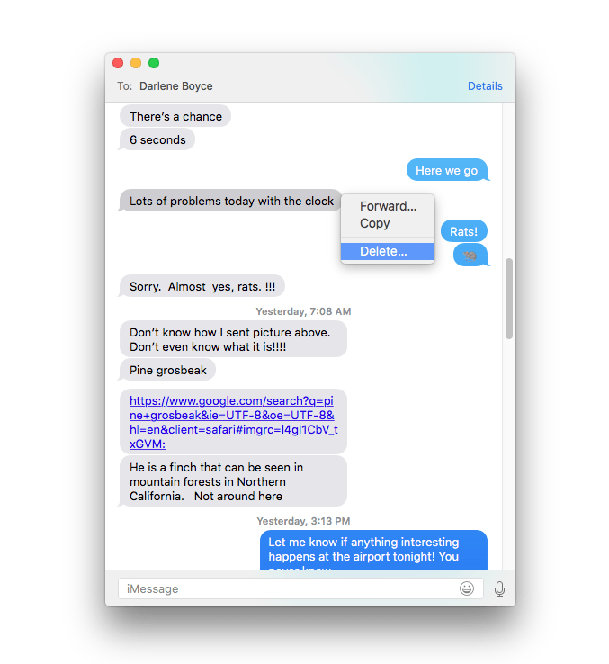 Control-click on text in a Messages conversation