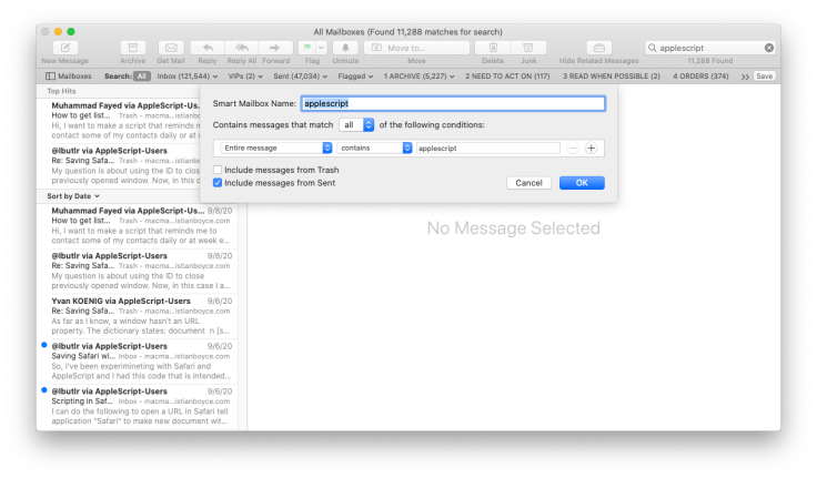 Saving a search in Mac Mail