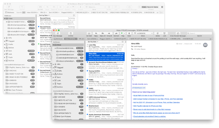 Two Mac Mail Viewer windows open