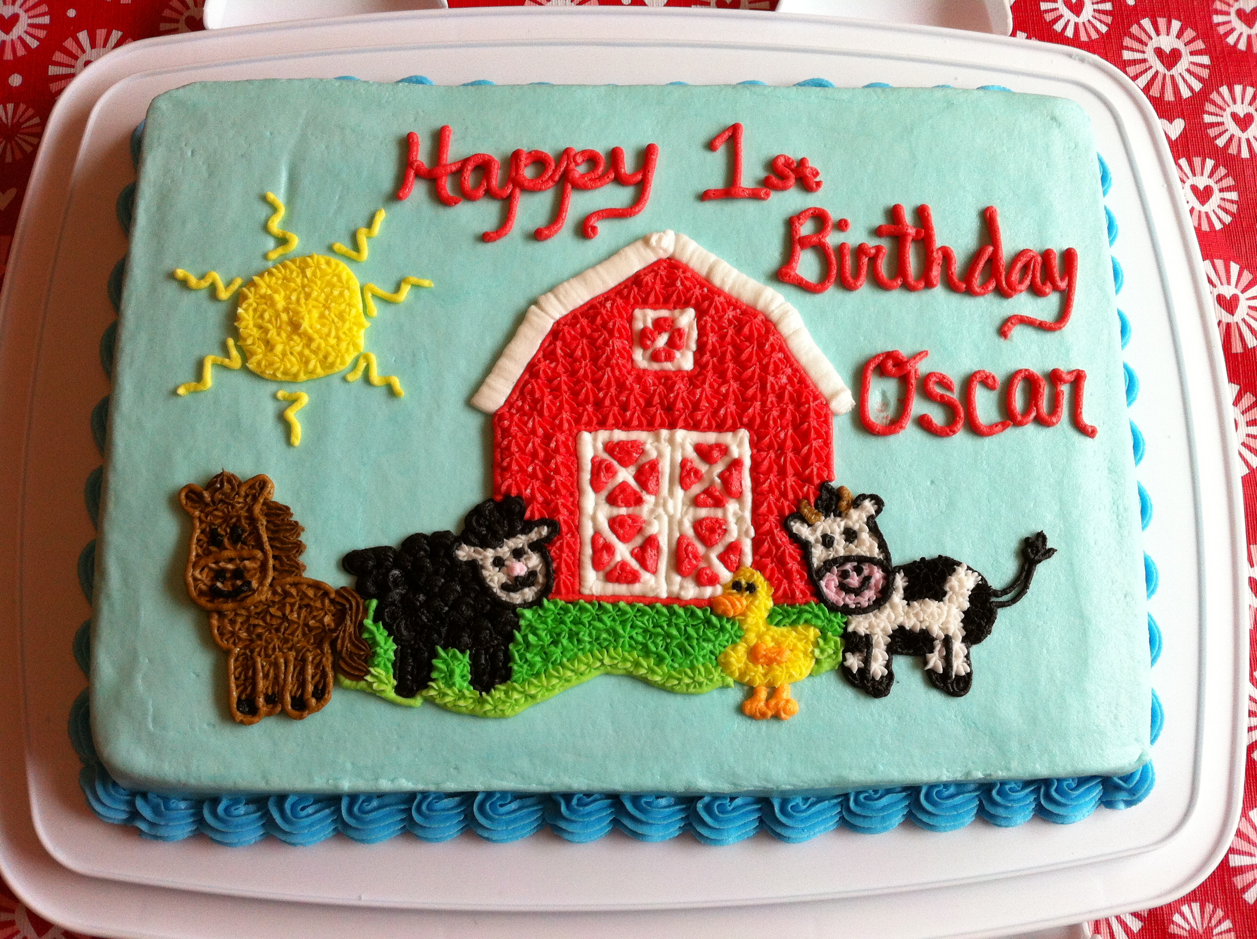 Baby Farm Animal 1st Birthday Cake