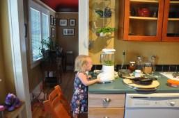 Making pesto while pushing buttons!