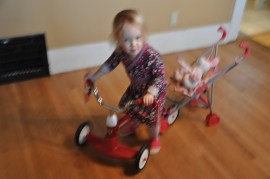 Another fancy contraption (blurry but can you see the smile? she was proud!)
