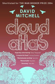 Book cover: Cloud Atlas - David Mitchell (powder blue etched illustrations of trees on a pink background)