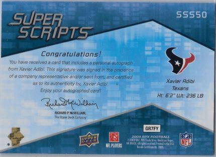 2008 SPx Super Script SSS50 Back