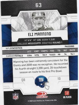 2009 Elite Eli Manning Back