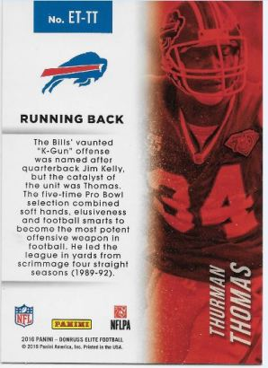 Thurman Thomas Elite Etched back