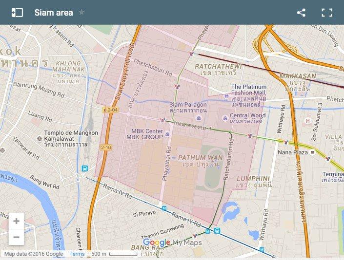 mappa Bangkok Siam Square Area