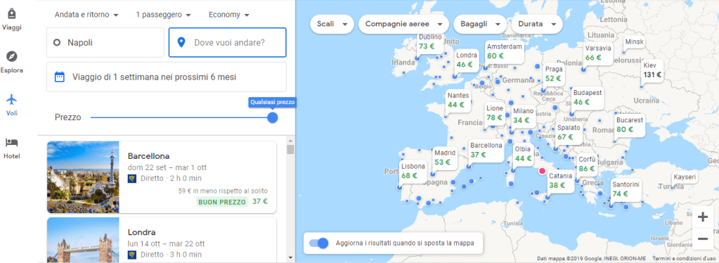mappa voli Google Flights