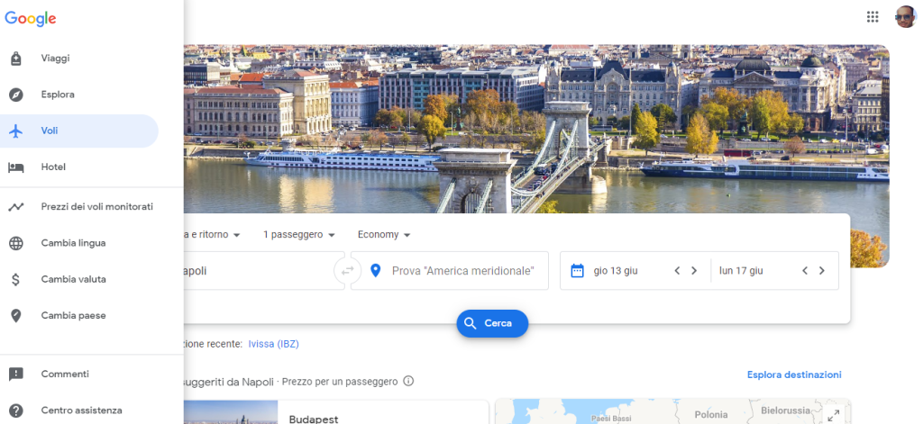 menù verticale Google Flights