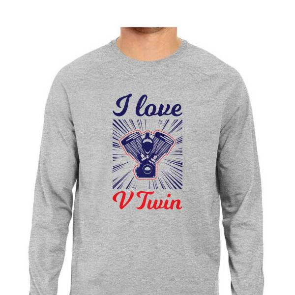 I love v twin full sleeves round neck shirt for men and women