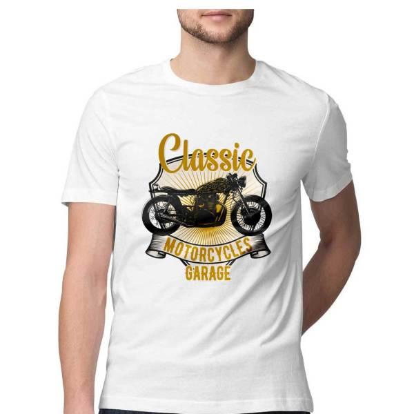classic biker white t shirt for men