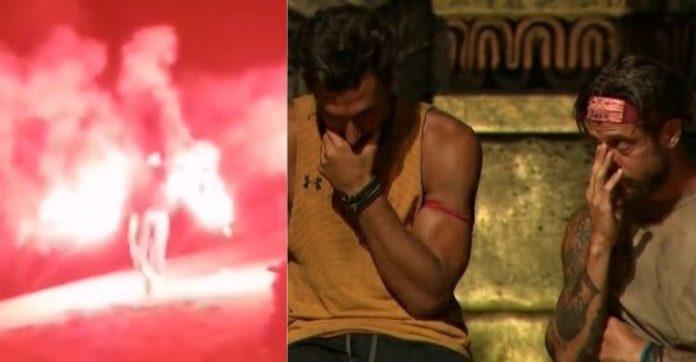 Survivor: Κάηκε το Ζευγολατιό ενώ αποχωρούσε ο Παύλος Γαλακτερός. Ράκος οι φίλοι του [video]