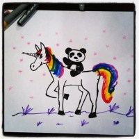 Panda Riding a Rainbow Unicorn Pony with Sparkles