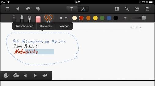 Der App-Store bietet jede Menge weitere Notizprogramme für Stiftbedienung (hier: das hervorragende Notability); die meisten können allerdings keine Handschrift in Text umwandeln.