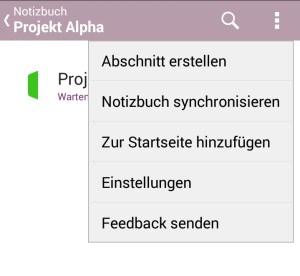 Ab sofort lassen sich auch in der Android-App neue Abschnitte und Notizbücher anlegen.
