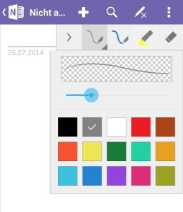Es lassen sich zwei getrennte Stifte für die Schnellauswahl in Farbe und Strichstärke vorbelegen.