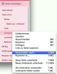 Seiten lassen sich nun auch in andere Notizbücher oder Abschnitte verschieben; auf dem Mac per Kontextmenü...