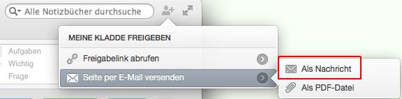 """Mac: Notizseiten lassen sich nun auch """"im Klartext"""" im Nachrichtenbereich einr E-Mail senden."""