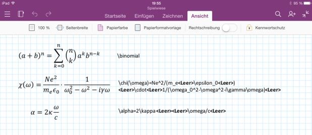 Die Syntax für die Formeleingabe (rechts) will gelernt sein. Sie entspricht aber weitgehend dem Formeleditor von Word.