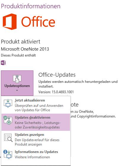 Um ganz sicherzugehen, dass auch künftig das automatische Office-Update OneNote 2013 nicht gegen die 2016er-Version austauscht, könnten Sie es abschalten. Das ist allerdings nicht ohne Risiko.