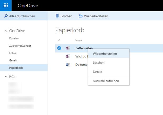 Gelöschte Dateien (auch die Links zu OneDrive-Notizbüchern) lassen sich mit einem Klick auf Wiederherstellen problemlos reanimieren.