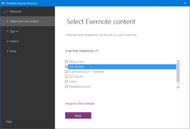 Bei auf dem selben Rechner installierten Evernote-Client werden die Notizbücher direkt angezeigt; allerdings keine Notizbuch-Stapel.