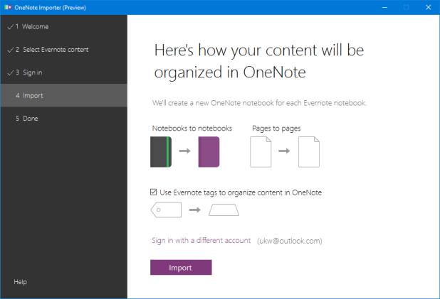 Auf Wunsch kann man die Evernote-Tags in den jeweiligen Notizen wenigstens als Klartext mit #-Zeichen einfügen lassen.