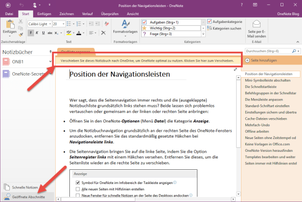 """Nach Wegklicken der Fehlermeldung wird der betreffende Abschnitt aber anstandslos in den Spezialbereich """"Geöffnete Abschnitte"""" (links unten im Bild) geladen. Eine Hinweiszeile am oberen Rand empfiehlt, das Notizbuch (welches denn? Ist doch nur ein Abschnitt!) auf OneDrive hochzuladen."""
