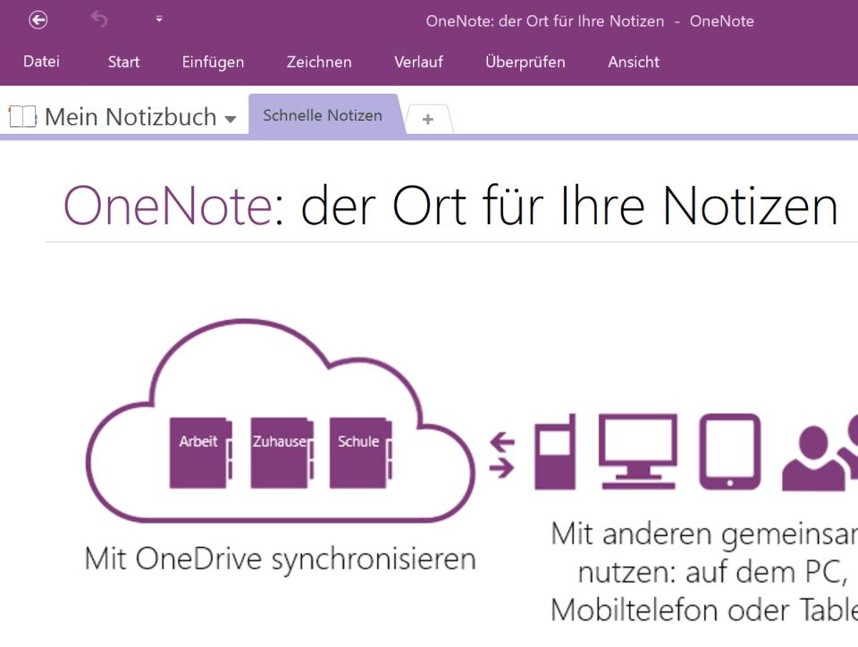 Beispiel-Notizbuch in OneNote