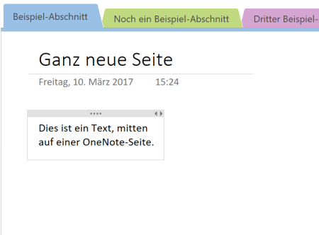 verschobene Textbox in OneNote