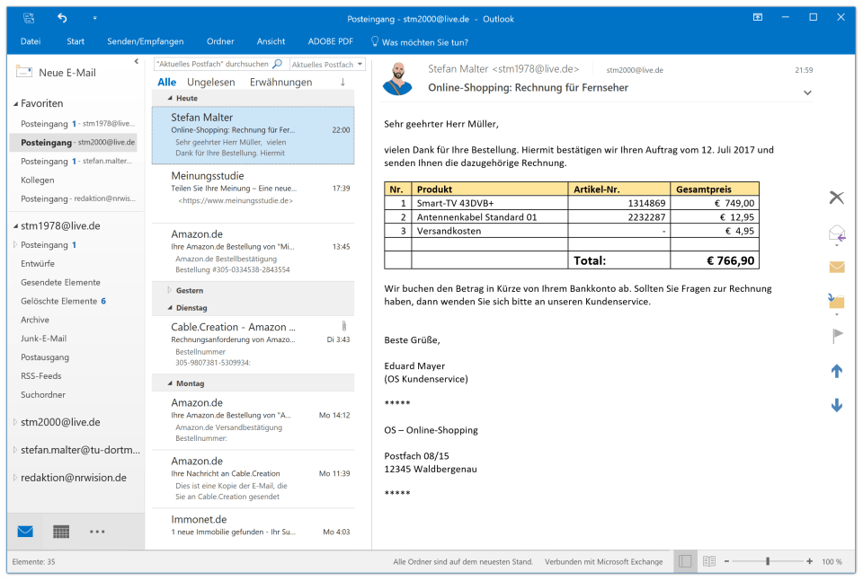 E-Mail in Outlook: Rechnung