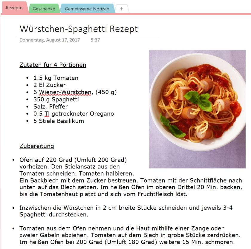 OneNote-Seite mit Kochrezept