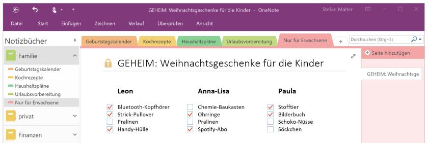 geheimer OneNote-Abschnitt
