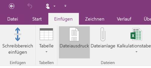 Dateiausdruck in OneNote
