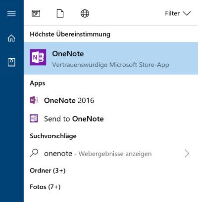 OneNote-App im Startmenü