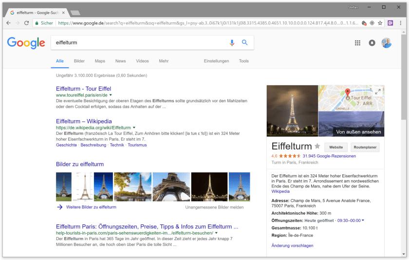 Eiffelturm bei Google