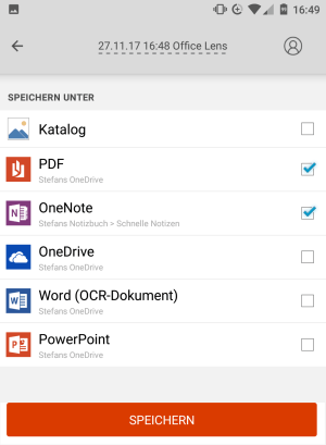 Dateiformat in Office Lens auswählen