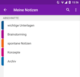 Abschnitte in der OneNote-App für Android