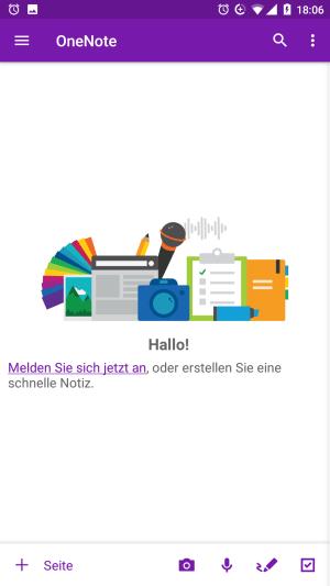 Anmeldung in der OneNote-App für Android
