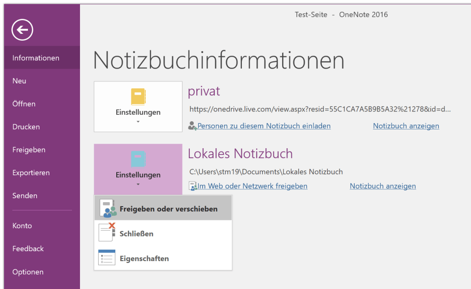 Notizbuchinformationen in OneNote 2016