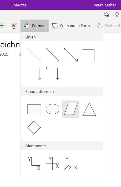 Form auswählen in OneNote für Windows 10
