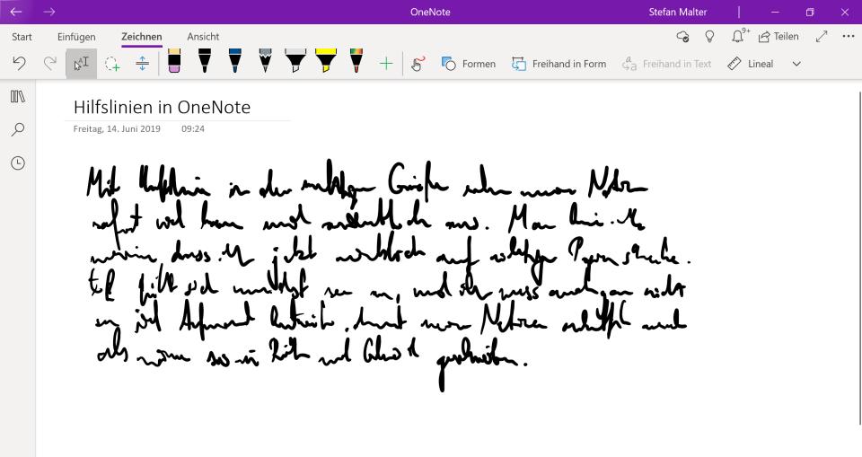 Handschrift ohne Hilfslinien in OneNote