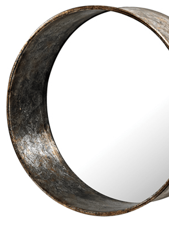 Sterling Oil Drum Mirror Detail