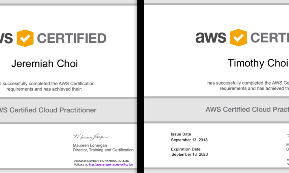 Two brothers, Jeremiah Choi (12 years old) and Timothy Choi (15 years old) are AWS certified!