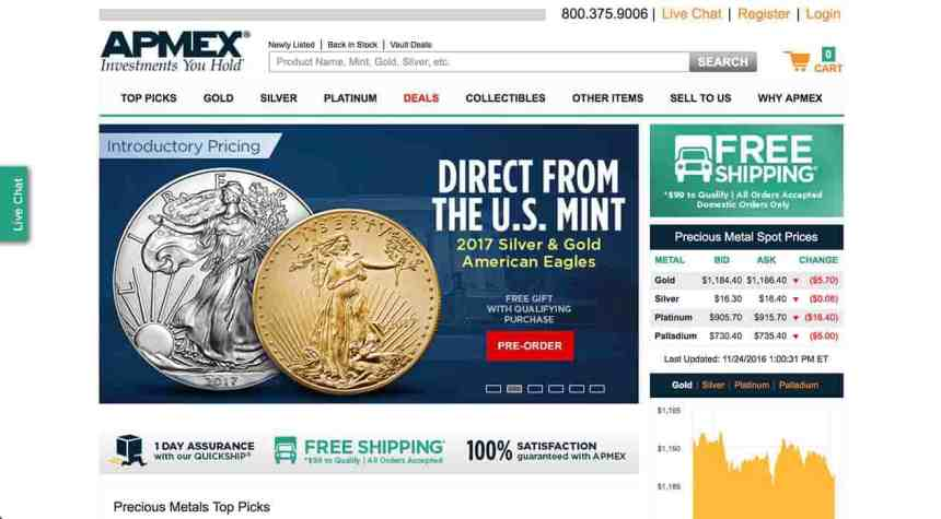apmex-website-screenshot
