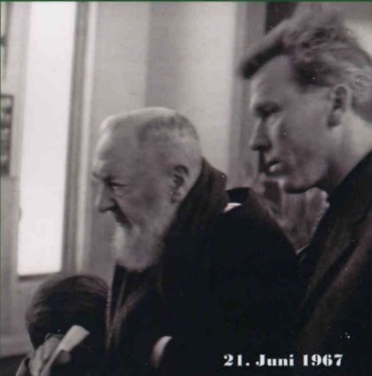 Fr. Dollinger accompanying St. Pio in 1967